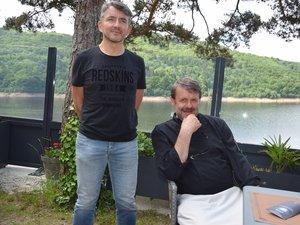 Daniel et Jean-Luc en osmose sur la presqu'île de Laussac.