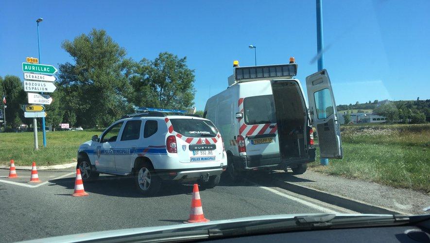 La route d'Espalion actuellement fermée à toute circulation