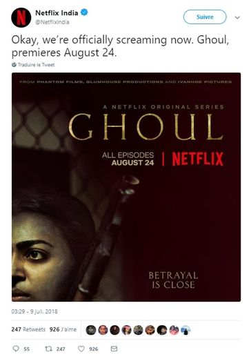"La série ""Ghoul"" sera disponible en anglais et en hindi."