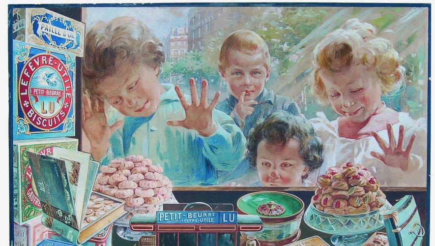 """""""Les enfants à la vitrine"""" de Vincent Bocchino, 1904, gouache et aquarelle sur papier, 65x50 cm  Estimation : 25 000-30 000 €"""