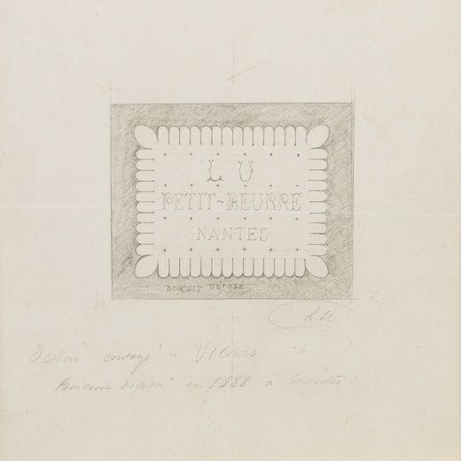 """""""Premier dessin du Petit-Beurre"""" de Louis Lefèvre-Utile, 1886, déposé en 1888  Estimation : 2 000-3 000 €"""
