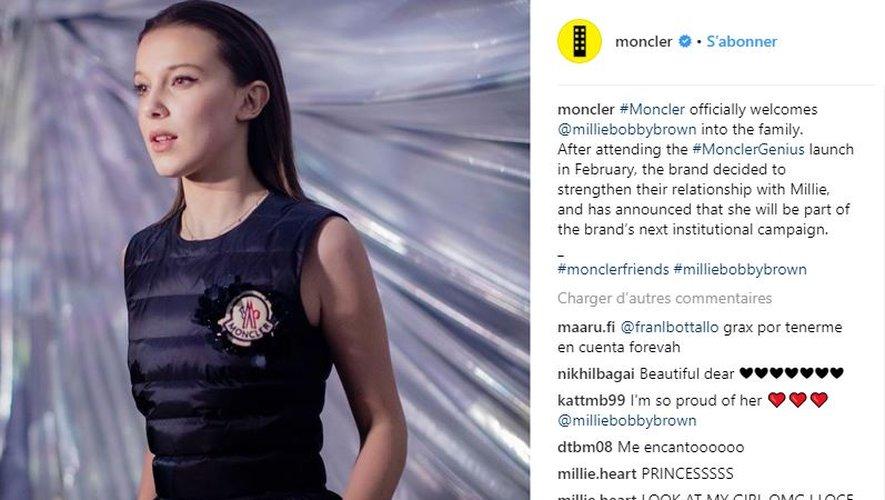 Millie Bobby Brown nouvelle ambassadrice Moncler