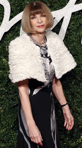 Anna Wintour, la rédactrice en chef de la version américaine du magazine Vogue, pose sur le tapis rouge des British Fashion Awards 2014.