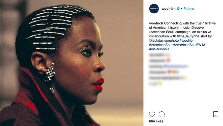 Lauryn Hill pour Woolrich automne-hiver 2018 sur Instagram