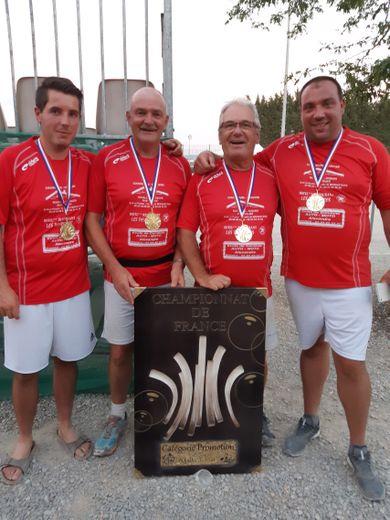 L'équipe championne de France:Flottes,Marre,Privat et Esclassan
