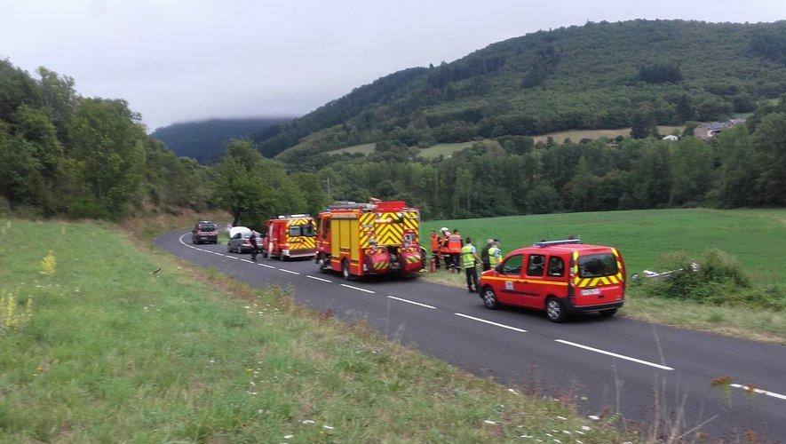 La voiture accidentée ce matin dans le Sud-Aveyron.