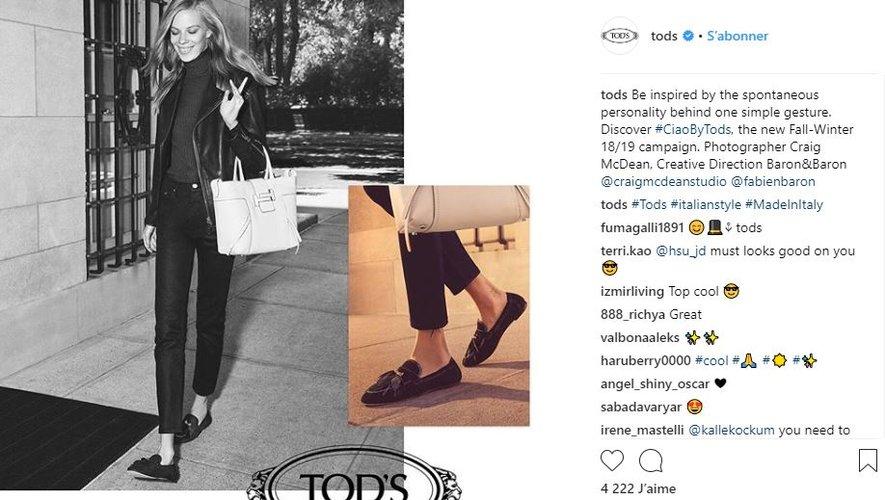 Lexi Boling a été choisie pour incarner la campagne automne-hiver 2018-2019 de Tod's.