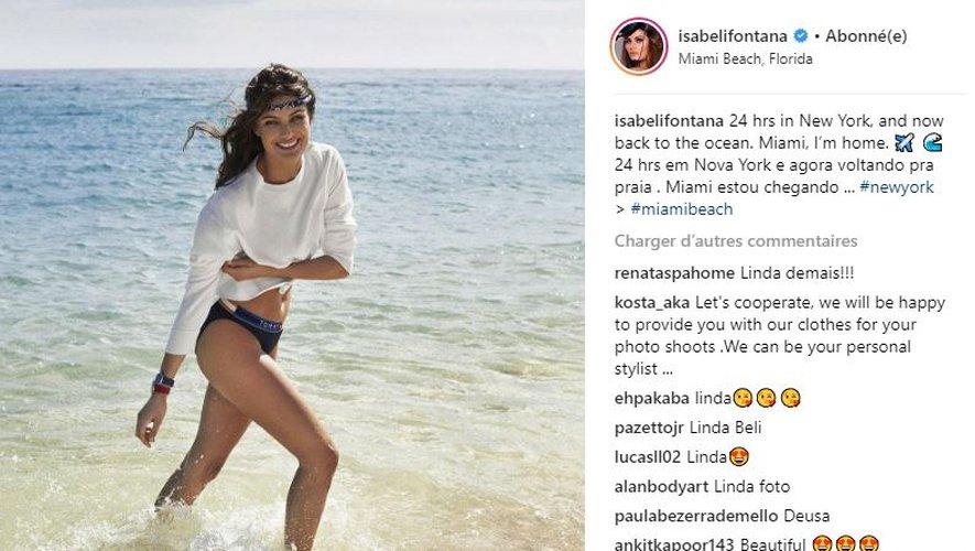 La Brésilienne Isabeli Fontana nous offre un ultime look de plage avant la rentrée.