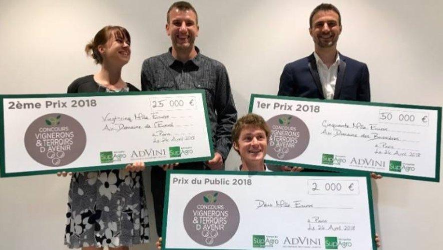 Le Balsacois Marc Fraysse (debout, à droite) a gagné le premier prix du concours Vignerons et terroirs d'avenir et un chèque de 50000€.