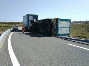 A75 : la remorque d'un poids lourd transportant des cochons se renverse