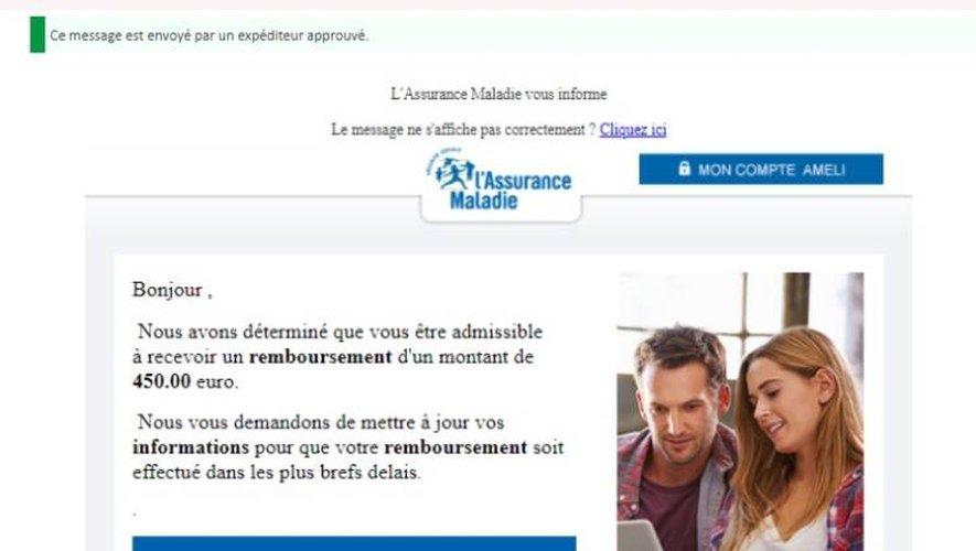 Un exemple de mail imitant le site d'Ameli.fr. La mention en haut à gauche faisant état d'un « expéditeur approuvé » est également frauduleuse.