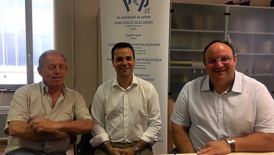 Le Dr Semet, Guillaume Fritschy, directeur de PEP12 et Bruno Viargues, directeur du CMPP de l'Aveyron.