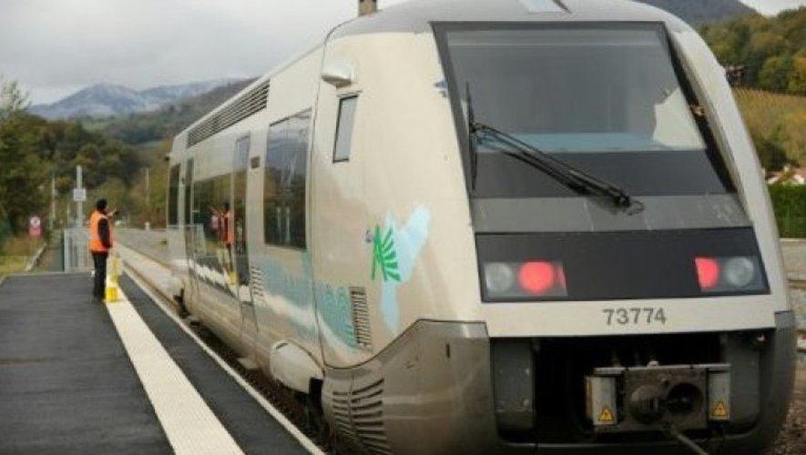 Un Ter Aquitaine dans une gare entre Bayonne et Saint-Jean-Pied-de-Port, le 22 novembre 2015