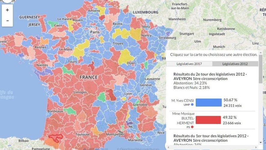 Carte interactive : tous les résultats des législatives 2012 et 2017