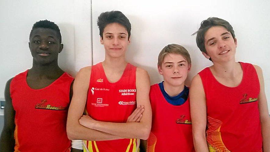 Rosin Ebassil, Mathis Bertin, Anthony Raimbeaux et Léo Lacombe ont défendu, haut et fort, les couleurs de Rodez.