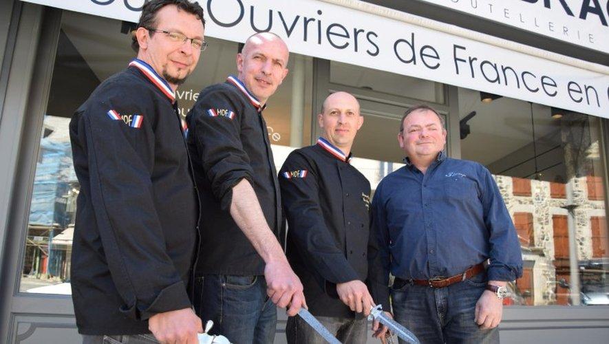 Cyrille, Jean-Michel et Jérôme, les 3 Mof avec leur D'Artagnan alias Michel de Vent d'Aubrac!