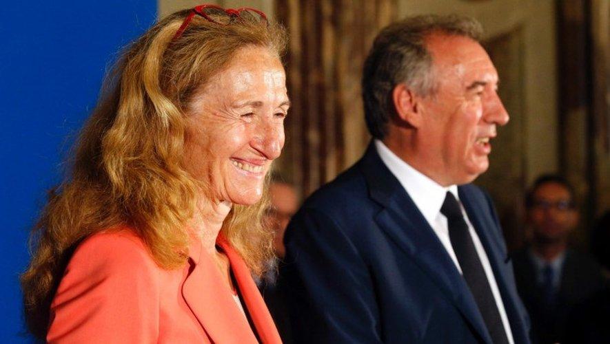 Nicole Belloubet, mercredi, à l'occasion de la passation de pouvoir avec François Bayrou, au ministère de la Justice.