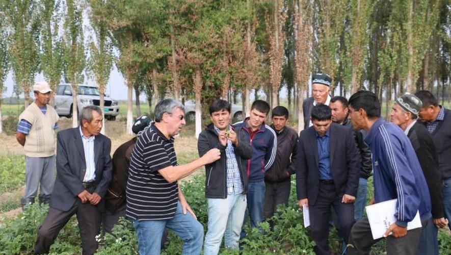 Michel Malet prodigue ses conseils sur la pomme de terre comme ici en Ouzbékistan et en profite pour cultiver les échanges humains.