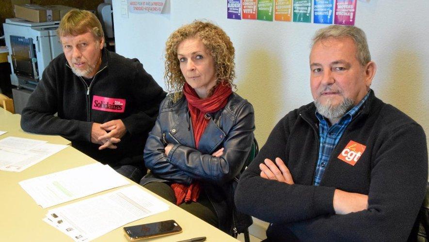 Didier Pons (CGT), Valérie Charpentier (FSU) et Robert Phavorin (Solidaires 12).       J.B.