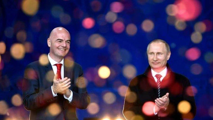 Les présidents de la Fifa, Gianni Infantino, et de la Russie, Vladimir Poutine, le 1er juin 2016 à Moscou lors d'une cérémonie pour le Mondial-2018