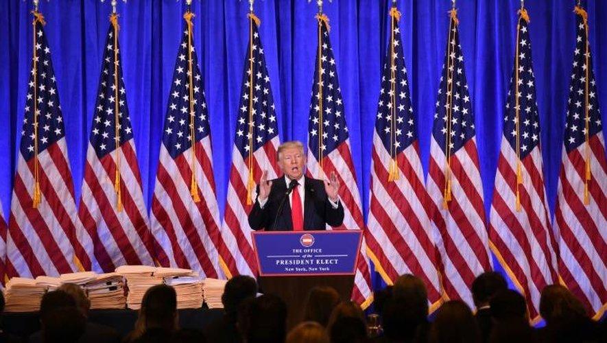 Le président élu Donald Trump lors de sa conférence de presse à New York, le 11 janvier 2017