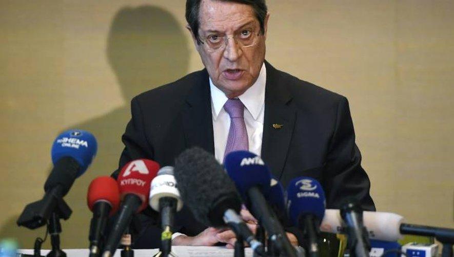 Conférence de presse de Nicos Anastasiades, le 13 janvier 2017 à Genève, au terme de pourparlers de paix sous l'égide de l'ONU
