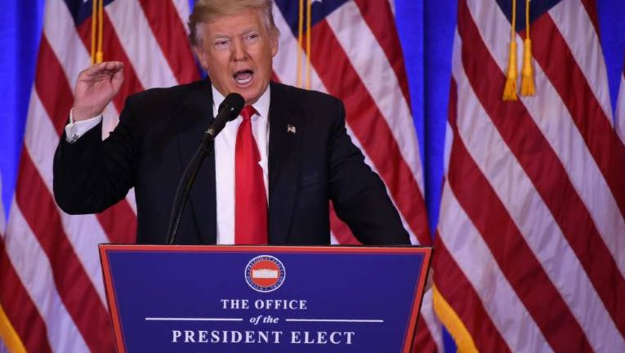 Le président américain élu Donald Trump lors d'une conférence de presse, le 11 janvier 2016 à New York