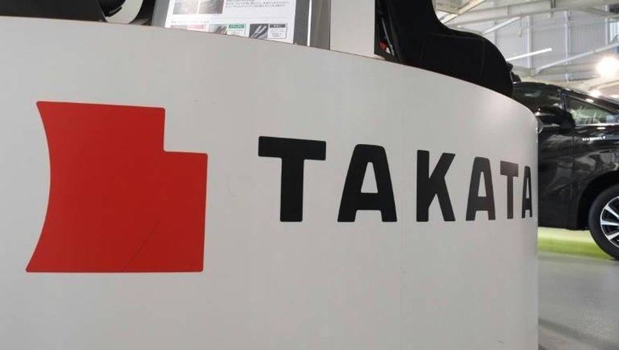 Le logo du groupe japonais Takata sur un salon automobile à Tokyo, le 13 janvier 2017