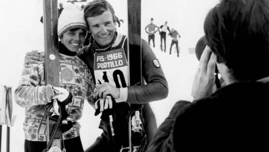 Jean-Claude Killy, avec Annie Famose, le 10 août 1966 aux Mondiaux de Portillo (Chili)