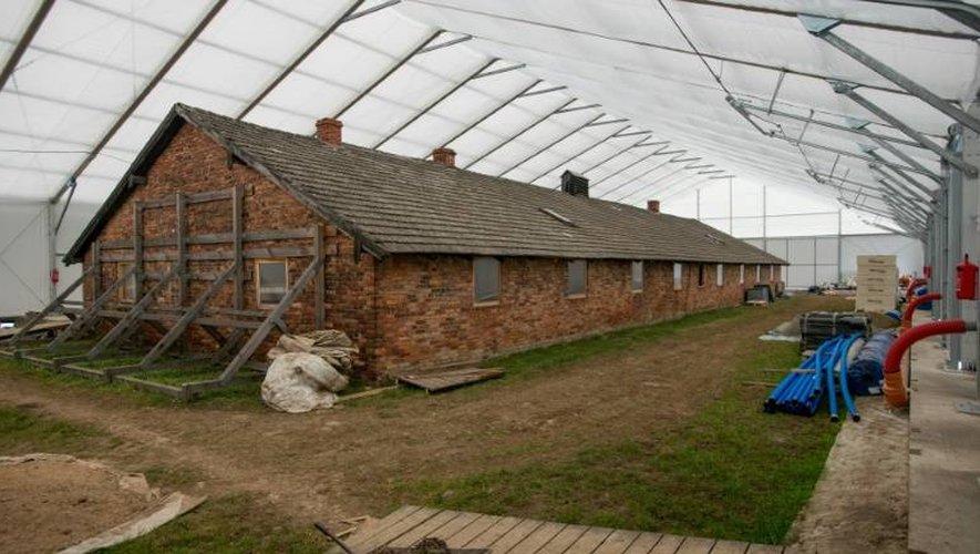 Un bâtiment du camp d'extermination nazi de Auschwitz à Oswiecim en Pologne le 2 décembre 2016