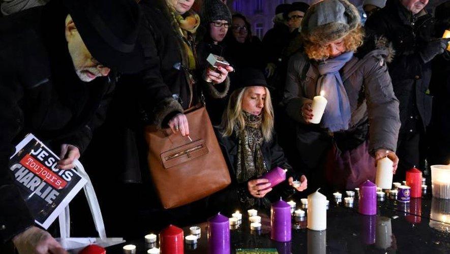 Rassemblement à Paris, le 7 janvier 2017, en hommage aux victimes de l'attentat de Charlie Hebdo deux ans plus tôt