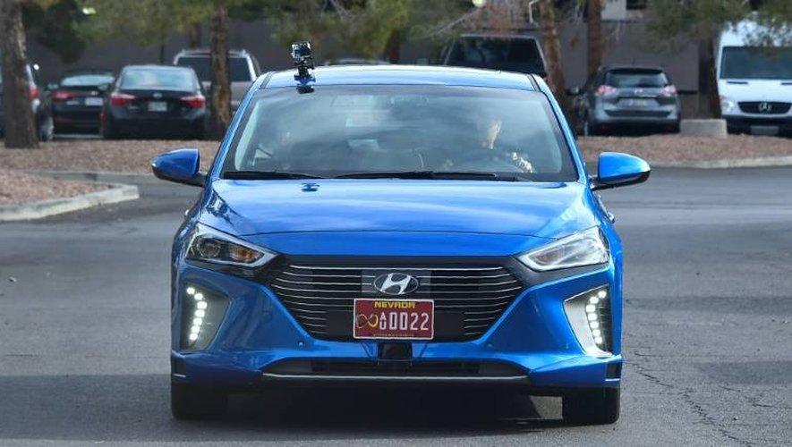 La voiture autonome de Hyundai lors d'un essai à Las Vegas au salon d'électronique CES, le 4 janvier 2017