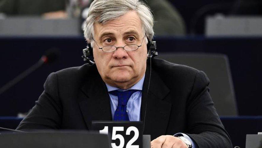L'Italien Antonio Tajani, membre du parti de droite PPE, candidat à la présidence du Parlement européen, le 16 janvier 2017 à Strasbourg