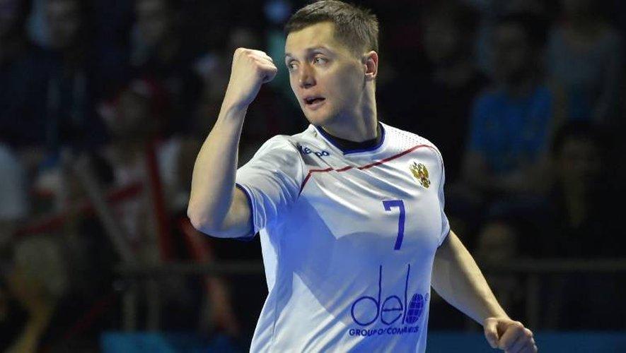 Le Russe Dmitry Kovalev auteur de 7 buts face à la Pologne lors du Mondial de hand, le 16 janvier 2017 à Nantes