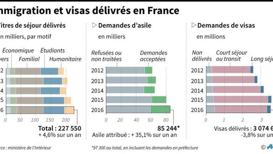 Immigration et visas délivrés en France