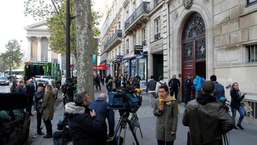 Vue extérieure en date du 3 octobre 2016 à Paris de la résidence où Kim Kardashian s'est fait braquer