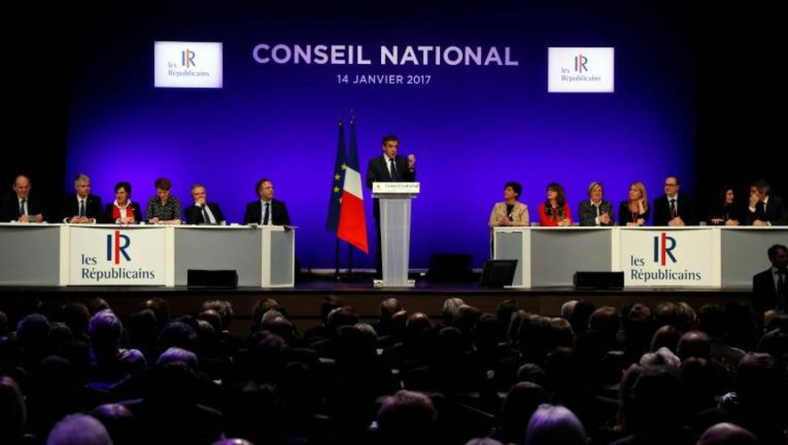 François Fillon lors de son discours devant le conseil national LR, le 14 janvier 2017 à Paris