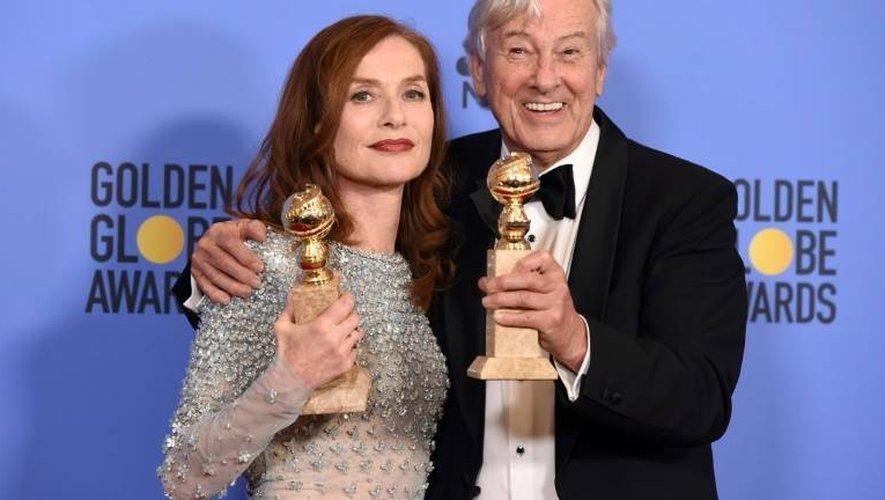 L'actrice française Isabelle Huppert et le réalisateur néerlandais Paul Verhoeven, le 8 janvier 2017 à Los Angeles