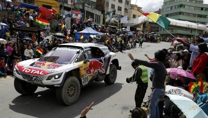 La Peugeot de Sébastien Loeb et Daniel Elena, le 7 janvier 2017 à La Paz