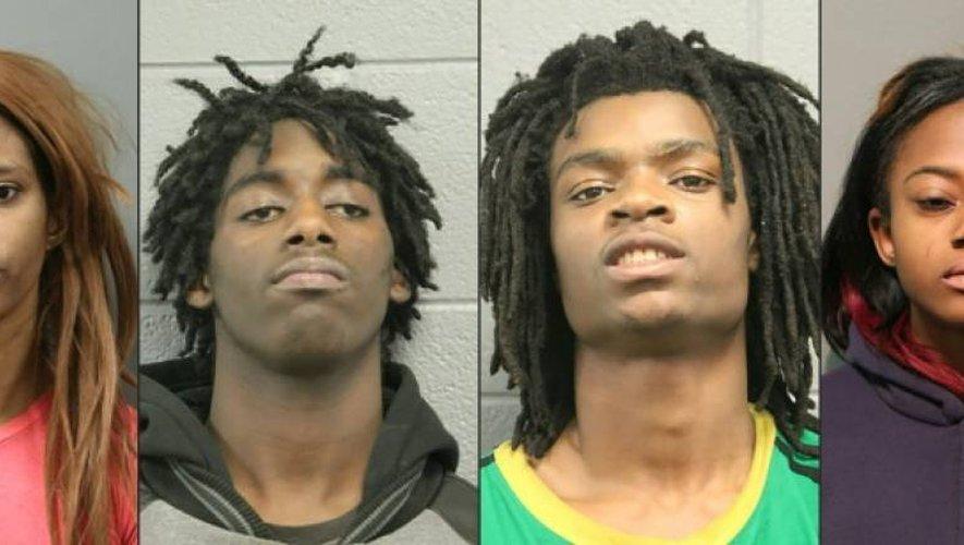 """Cette image fournie par la police de Chicago est composée des portraits (de G à D) de Tanishia Covington, Jordan Hill, Tesfaye Cooper, et de Brittany Covington inculpés pour """"crime raciste"""", le 5 janvier à Chicago"""