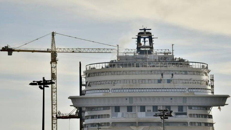 Construction du paquebot MSC Meraviglia sur le chantier naval STX à Saint-Nazaire (Loire-Atlantique) le 6 décembre 2016