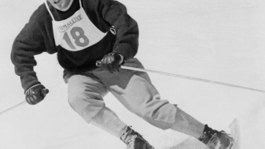 Jean Vuarnet en compétition lors des Jeux d'Hiver de Squaw Valley, en Californie, en février 1960
