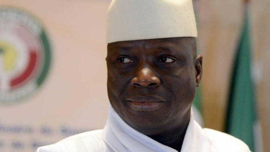 Le président sortant de Gambie Yahya Jammeh le 28 mars 2014 à Yamoussoukro, en Côte d'Ivoire