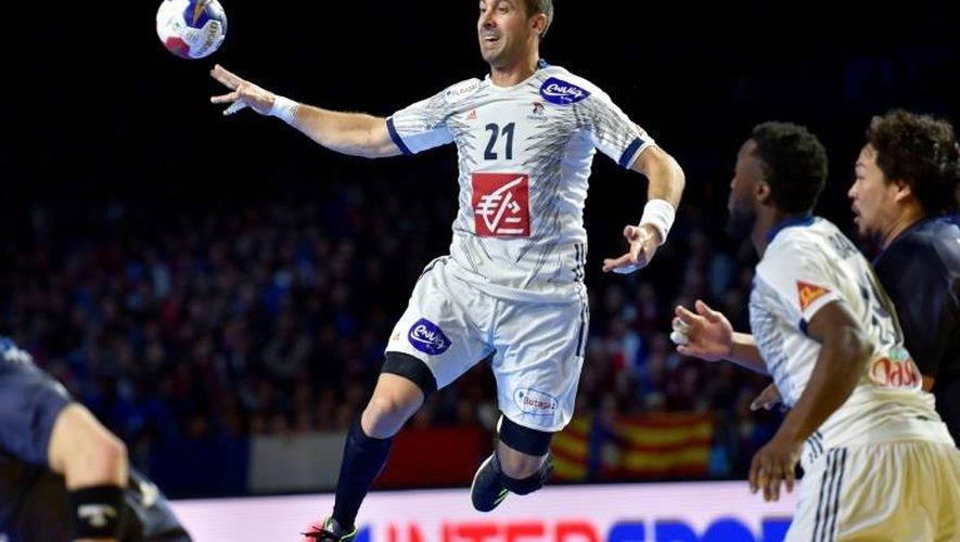 L'ailier de l'équipe de France de handball Michaël Guigou face au Japon lors du Mondial, le 13 janvier 2017 à Nantes
