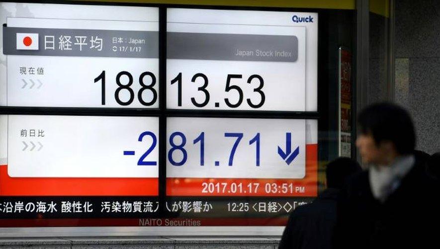 Un écran de cotation le 17 janvier 2017 dans une société de Bourse à Tokyo où les actions ont chuté dans l'attente du discours de Theresa May