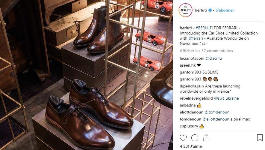 La maison Berluti collabore avec Ferrari le temps d'une collection de chaussures.