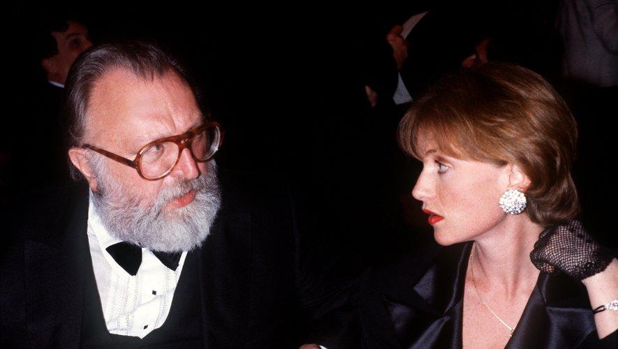 """Isabelle Huppert et Sergio Leone présentent leur film hors compétition """"Il était une fois en Amérique"""" au festival de Cannes, le 21 mai 1984."""