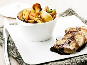 Recette de Mignon de porc de l'Aveyron, cocotte de légumes et jus vigneron