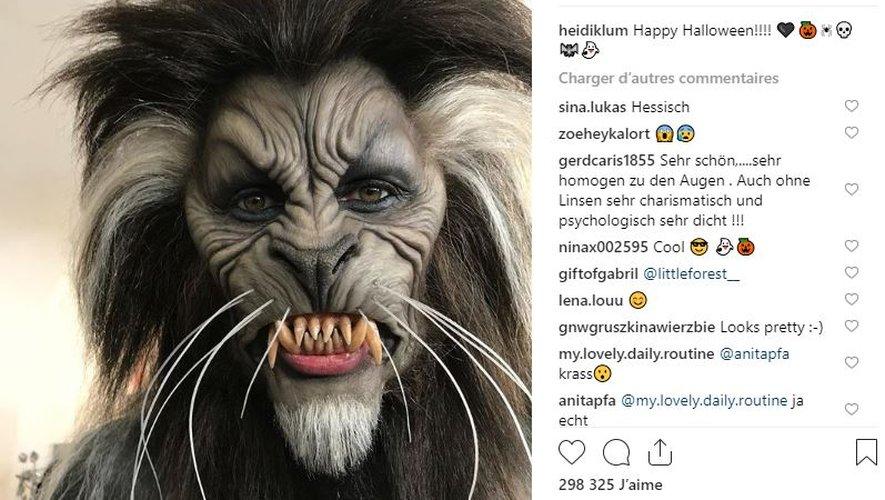 Difficile à croire mais c'est bel et bien Heidi Klum qui se cache derrière ce déguisement de loup-garou.