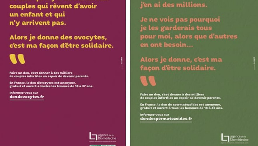 Campagne de communication sur le don d'ovocytes et de spermatozoïdes.